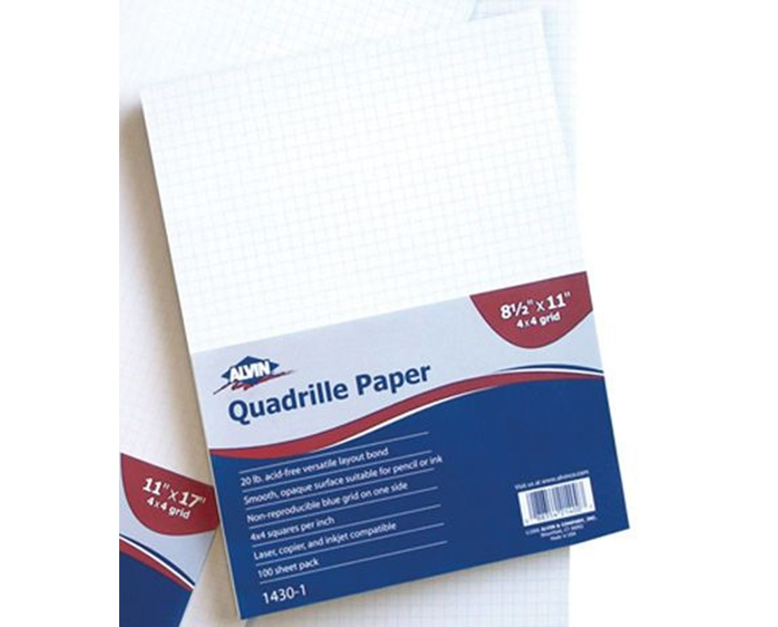 Alvin Quadrille Paper With 4 x 4 Grid (Qty. 100 Sheets) 1430-100Alvin Quadrille Paper With 4 x 4 Grid (Qty. 100 Sheets)