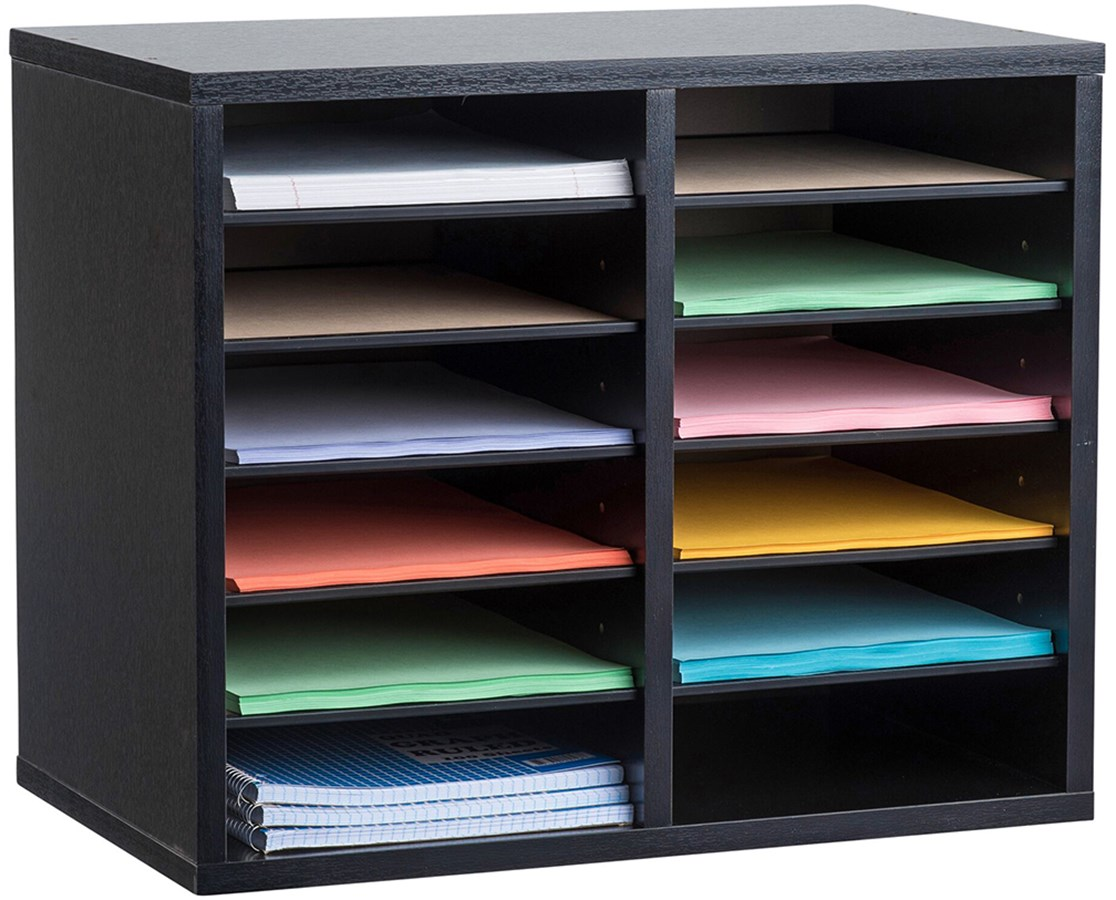 Adir Office 500 Series Wooden Literature Organizer ADI500-12-BLK-