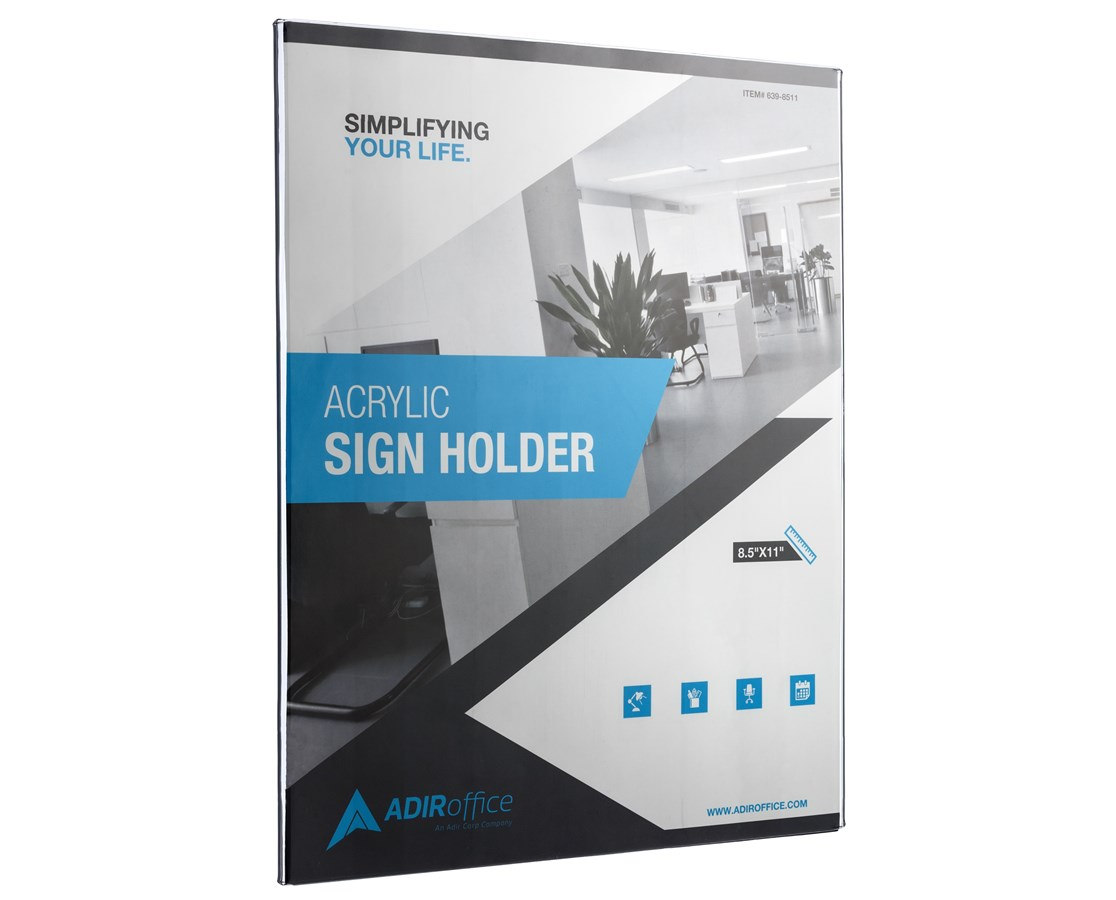 AdirOffice 8.5 x 11 Inches Wall Mount Side-Loading Acrylic Sign Holder ADI639-8511-3-WM-
