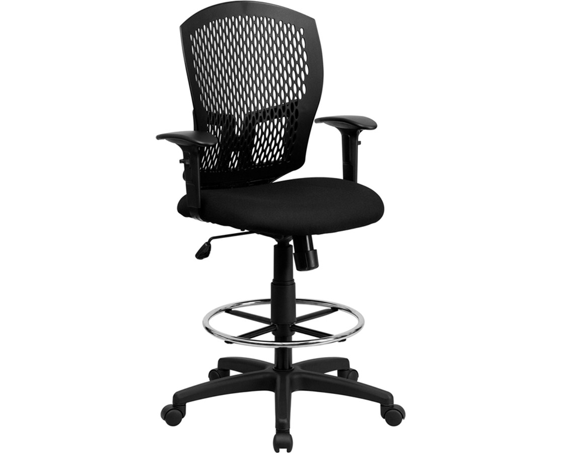 Flash Furniture Mesh Full Back Drafting Chair with Arms WL-3958SYG-BK-AD-GG