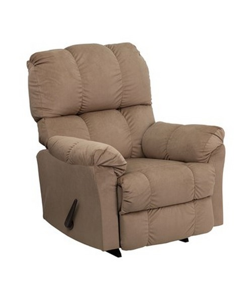 Contemporary Top Hat Coffee Microfiber Rocker Recliner [AM-9320-4172-GG] FLFAM-9320-4172-GG