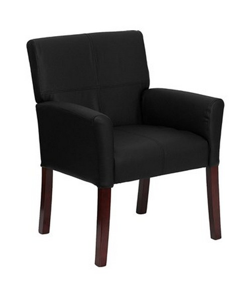 Black Leather Executive Side Chair or Reception Chair with Mahogany Legs [BT-353-BK-LEA-GG] FLFBT-353-BK-LEA-GG