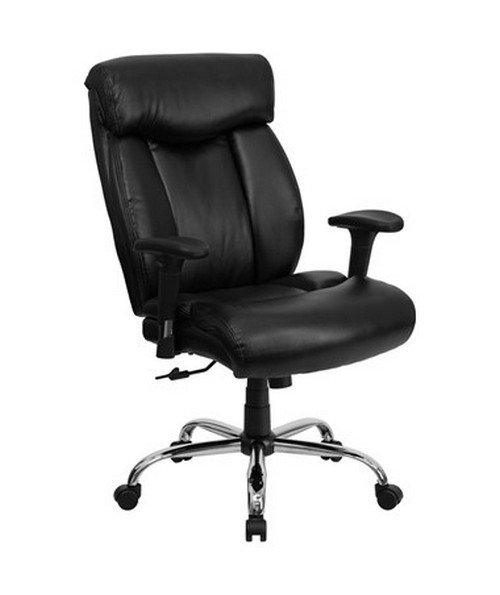HERCULES Series 350 lb. Capacity Big & Tall Black Leather Office Chair with Arms [GO-1235-BK-LEA-A-GG] FLFGO-1235-BK-LEA-A-GG