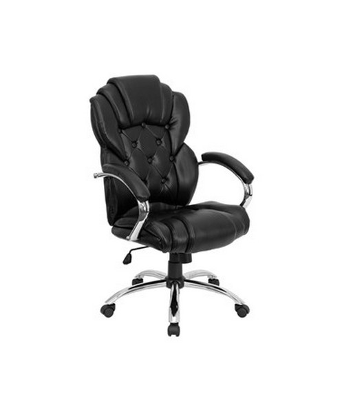 High Back Transitional Style Black Leather Executive Office Chair [GO-908A-BK-GG] FLFGO-908A-BK-GG