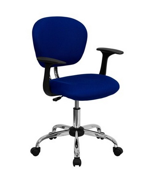 Mid-Back Blue Mesh Task Chair with Arms and Chrome Base [H-2376-F-BLUE-ARMS-GG] FLFH-2376-F-BLUE-ARMS-GG