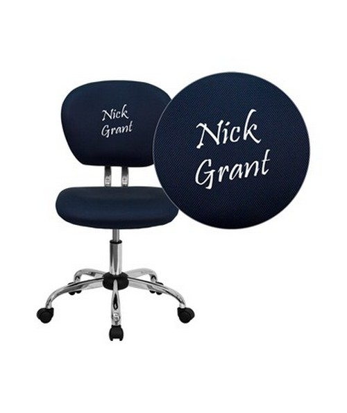 Embroidered Mid-Back Navy Mesh Task Chair with Chrome Base [H-2376-F-NAVY-EMB-GG] FLFH-2376-F-NAVY-EMB-GG