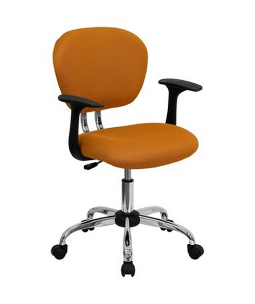 Mid-Back Orange Mesh Task Chair with Arms and Chrome Base [H-2376-F-ORG-ARMS-GG] FLFH-2376-F-ORG-ARMS-GG