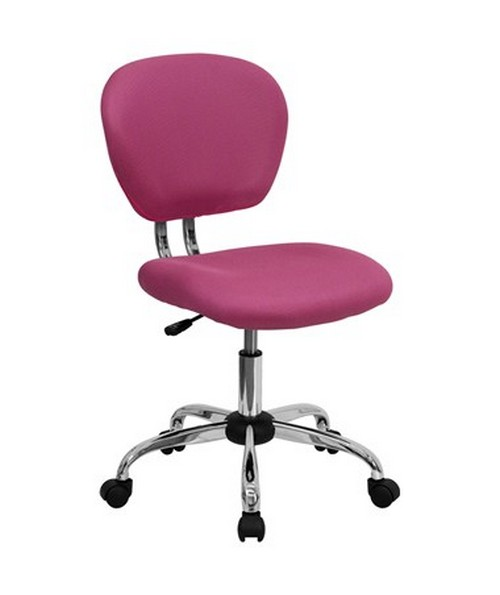 Mid-Back Pink Mesh Task Chair with Chrome Base [H-2376-F-PINK-GG] FLFH-2376-F-PINK-GG