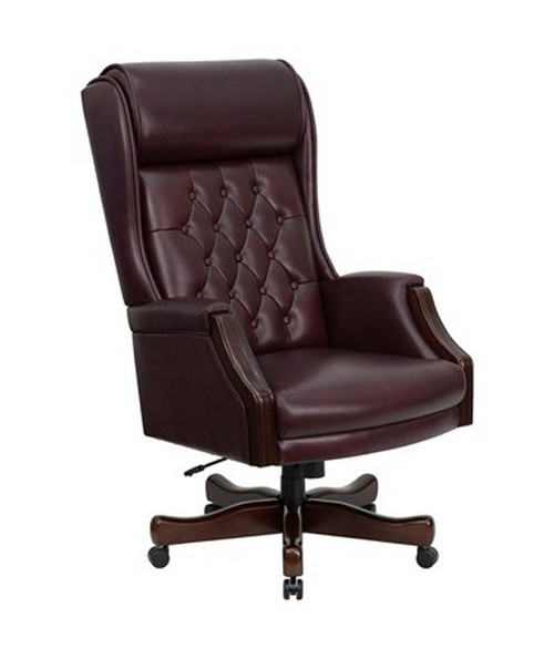 Flash furniture high back traditional tufted burgundy for Traditional tufted leather sofa