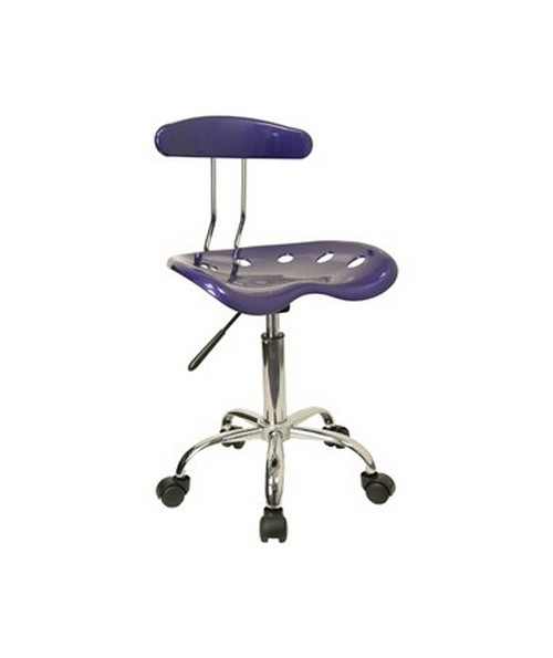 Vibrant Deep Blue and Chrome Computer Task Chair with Tractor Seat [LF-214-DEEPBLUE-GG] FLFLF-214-DEEPBLUE-GG