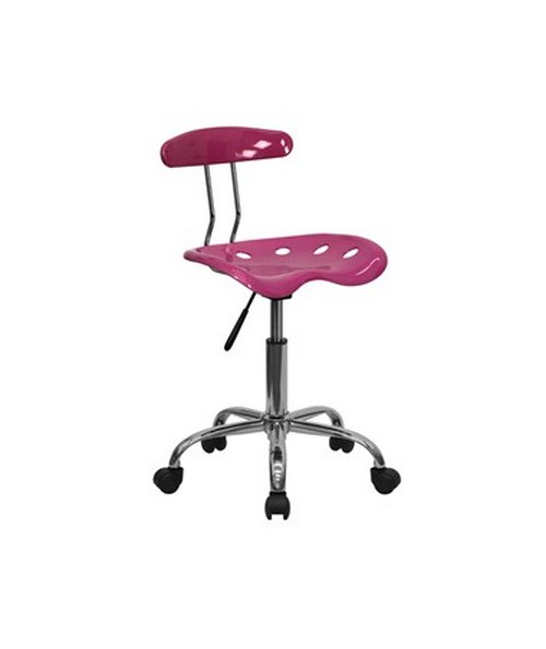 Vibrant Pink and Chrome Computer Task Chair with Tractor Seat [LF-214-PINK-GG] FLFLF-214-PINK-GG