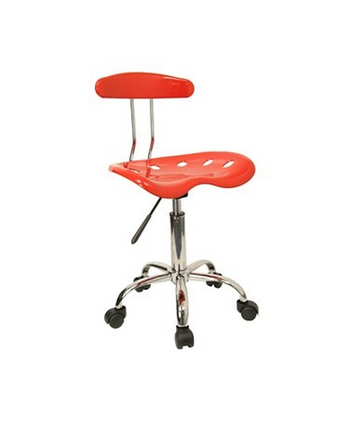 Vibrant Red and Chrome Computer Task Chair with Tractor Seat [LF-214-RED-GG] FLFLF-214-RED-GG