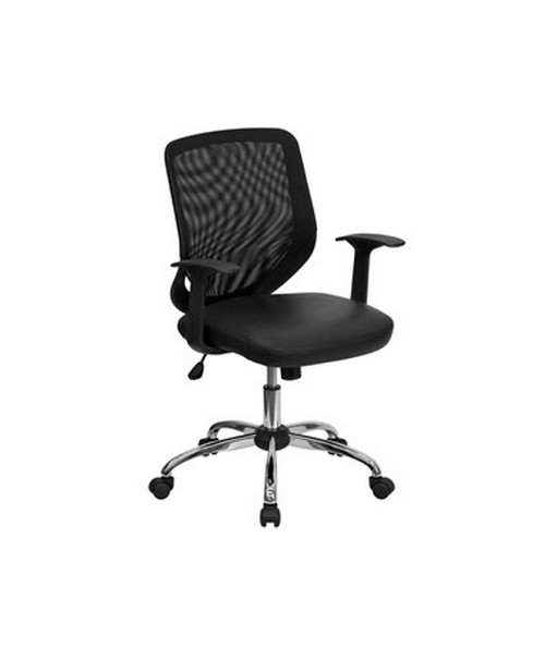 Mid-Back Black Office Chair with Mesh Back and Italian Leather Seat [LF-W95-LEA-BK-GG] FLFLF-W95-LEA-BK-GG