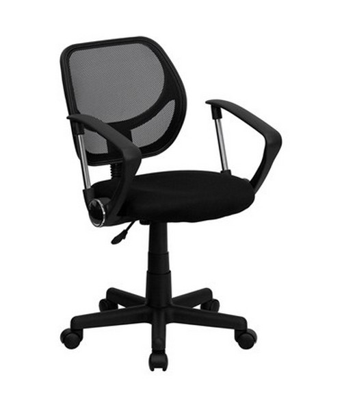 Mid-Back Black Mesh Task Chair and Computer Chair with Arms [WA-3074-BK-A-GG] FLFWA-3074-BK-A-GG