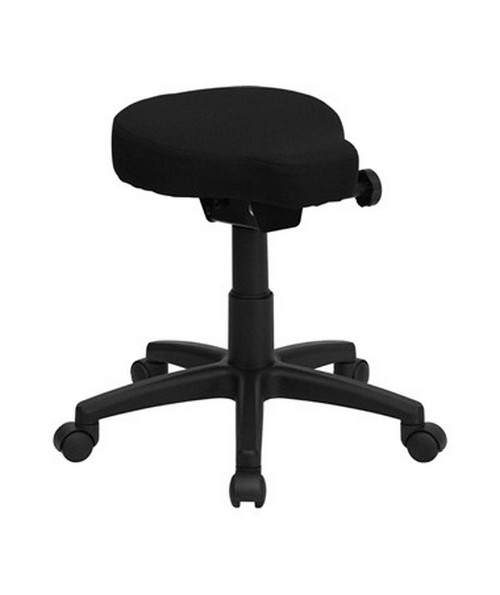Black Saddle-Seat Utility Stool with Height and Angle Adjustment [WL-1620-GG] FLFWL-1620-GG