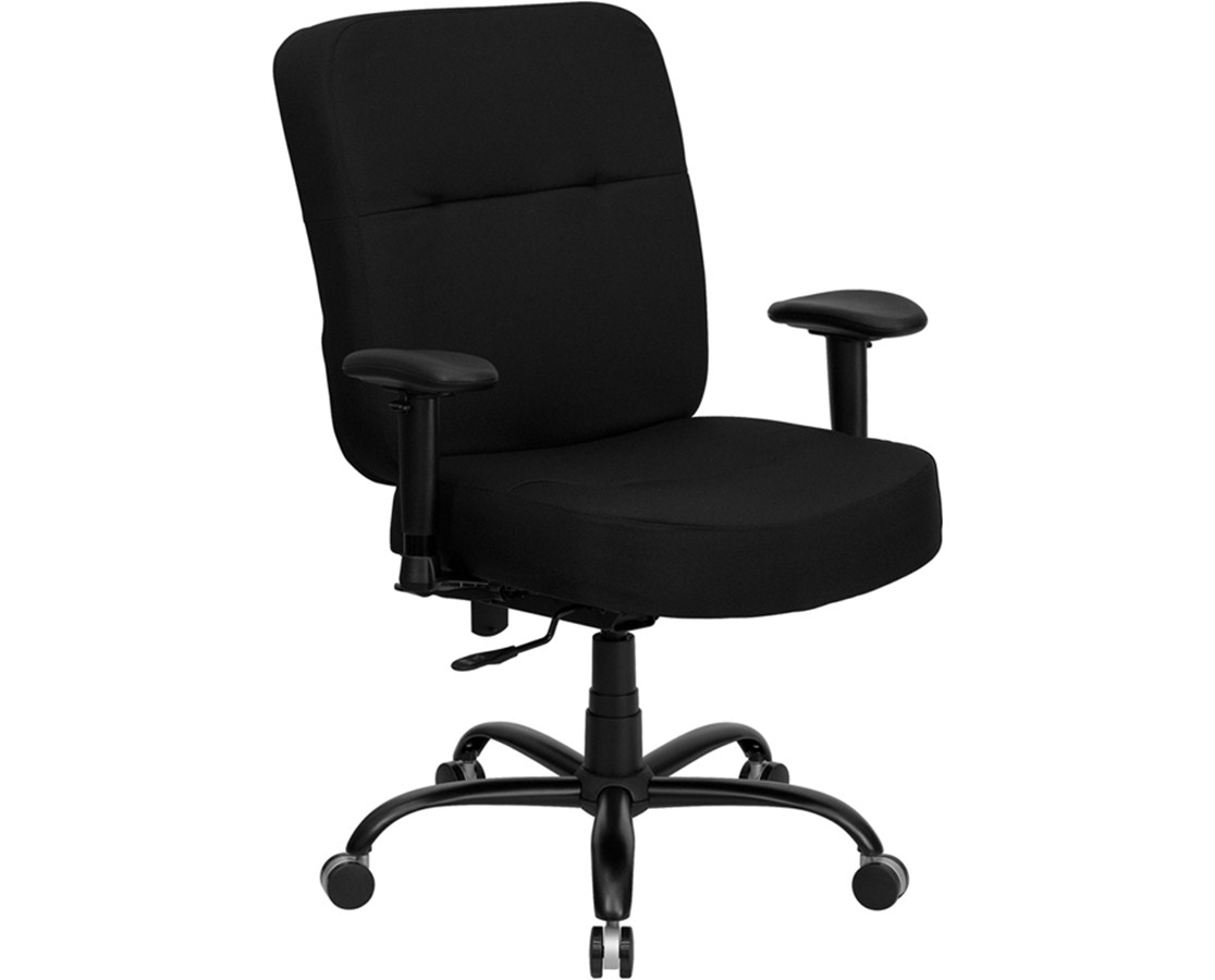 HERCULES Series 400 lb. Capacity Big & Tall Black Fabric Office Chair with Arms and Extra WIDE Seat [WL-735SYG-BK-A-GG] FLFWL-735SYG-BK-A-GG