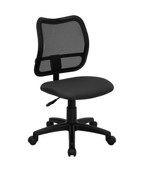 Mid-Back Mesh Task Chair with Gray Fabric Seat [WL-A277-GY-GG] FLFWL-A277-GY-GG