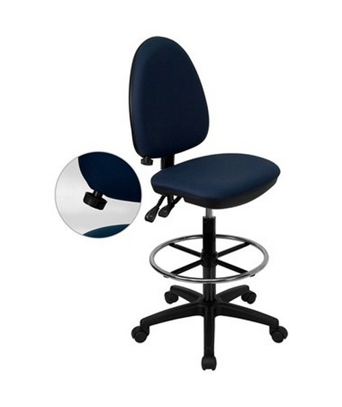 Mid-Back Navy Blue Fabric Multi-Functional Drafting Stool with Adjustable Lumbar Support [WL-A654MG-NVY-D-GG] FLFWL-A654MG-NVY-D-GG