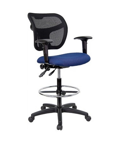 Mid-Back Mesh Drafting Stool with Navy Blue Fabric Seat and Arms [WL-A7671SYG-NVY-AD-GG] FLFWL-A7671SYG-NVY-AD-GG