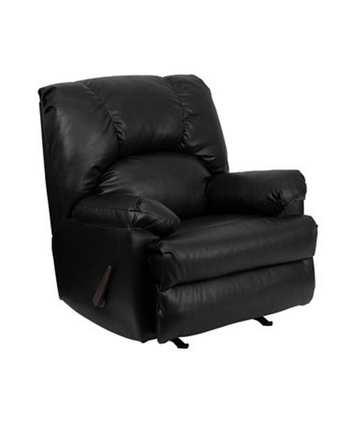 Contemporary Apache Black Leather Rocker Recliner [WM-8500-371-GG] FLFWM-8500-371-GG