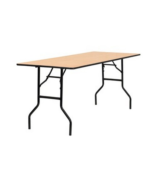 72'' Rectangular Wood Folding Banquet Table with Clear Coated Finished Top [YT-WTFT30X72-TBL-GG] FLFYT-WTFT30X72-TBL-GG
