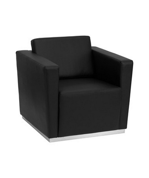 HERCULES Trinity Series Contemporary Black Leather Chair with Stainless Steel Base [ZB-TRINITY-8094-CHAIR-BK-GG] FLFZB-TRINITY-8094-CHAIR-BK-GG