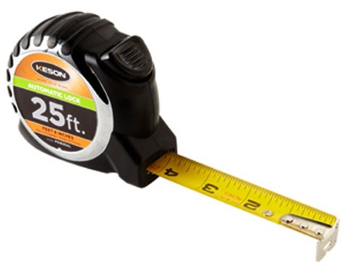 Keson 25 Feet Automatic Lock Short Tape, Nylon Coated Blade KESPG1825AL-
