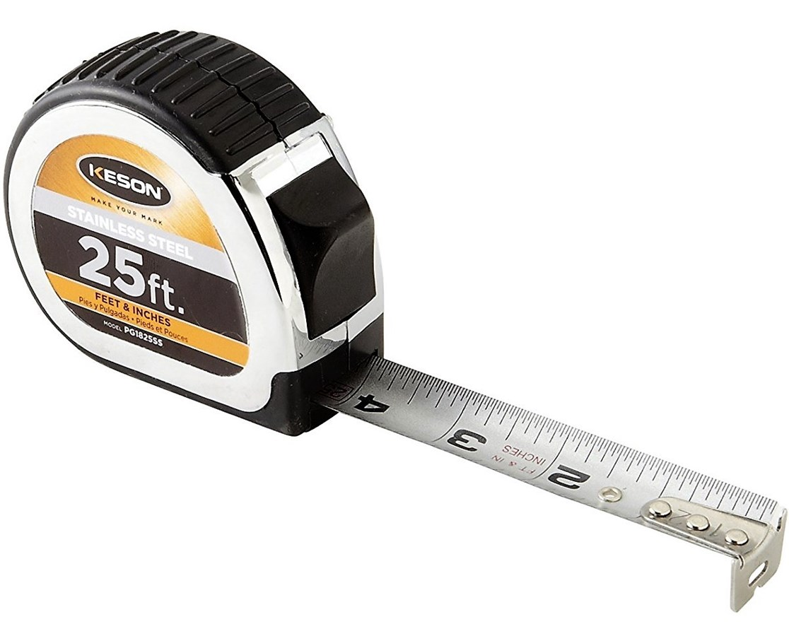 Keson 25 Feet Stainless Steel Short Tape, Nylon Coated Blade KESPG1825SS-