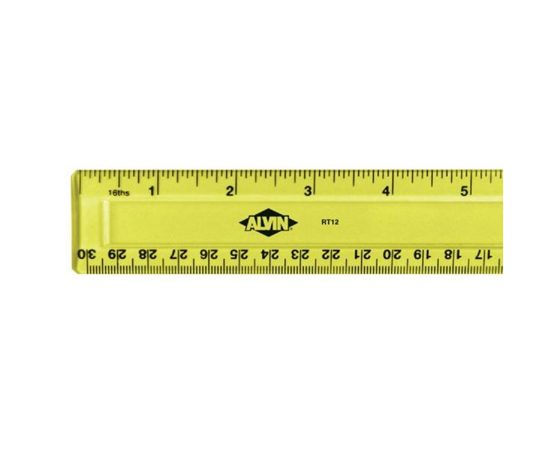 PLASTIC RULER, 12  FLUORESCENT RT12