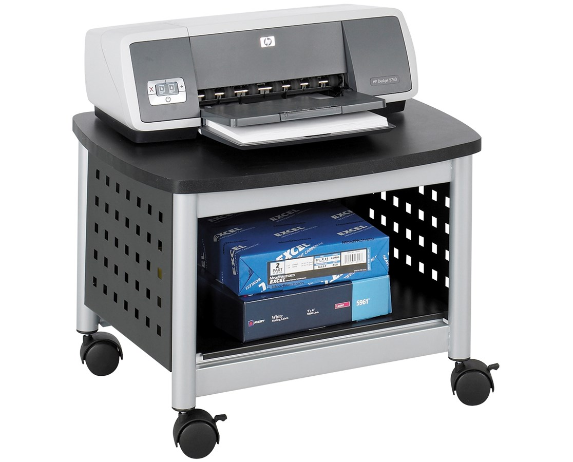 SAFCO1855BL-Scoot™ Underdesk Printer Stand Black/Silver SAF1855BL