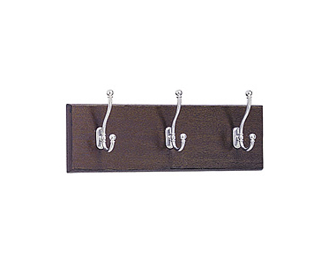 SAFCO4216MH-Wood Wall Rack, 3 Hook (Qty.6) SAF4216MH