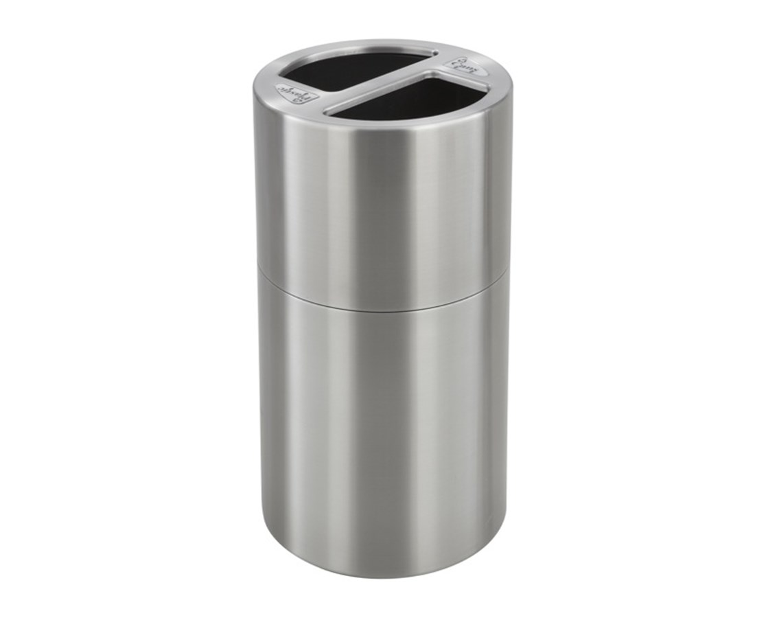Safco 30 Gallon Dual Bin Recycling Receptacle, Stainless Steel SAF9931SS