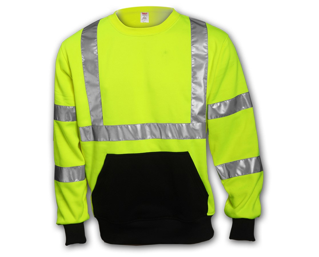 "ANSI 107 CLASS 3 SWEATSHIRTS - Fluorescent Yellow-Green Crew Neck - 2"" Silver Reflective Tape TINS78022"