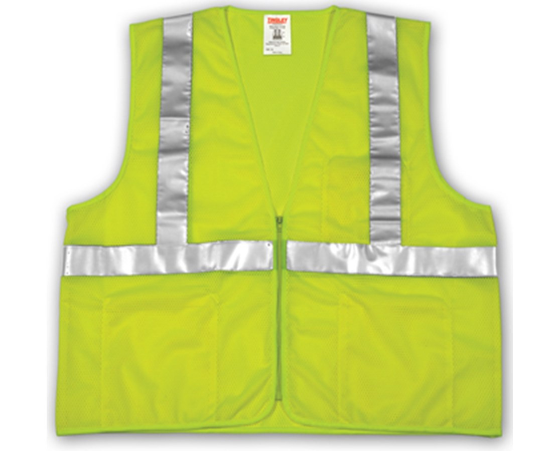 "ANSI 107 CLASS 2 SAFETY VESTS - Fluorescent Yellow-Green Mesh - 2"" Reflective Tape - Zipper Closure TINV70632"