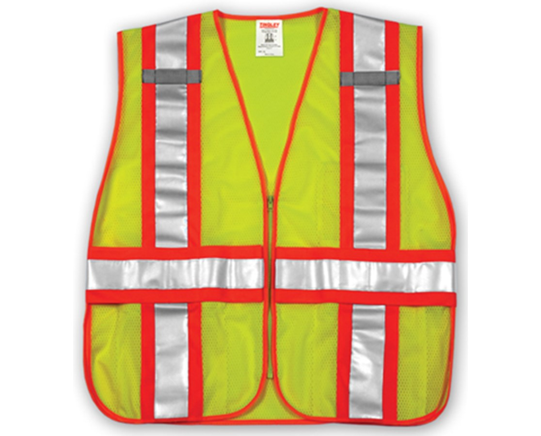 "ANSI 107 CLASS 2 SAFETY VESTS - Fluorescent Yellow-Green - Mesh - Two-Tone - 2"" Reflective H Pattern TINV70832"