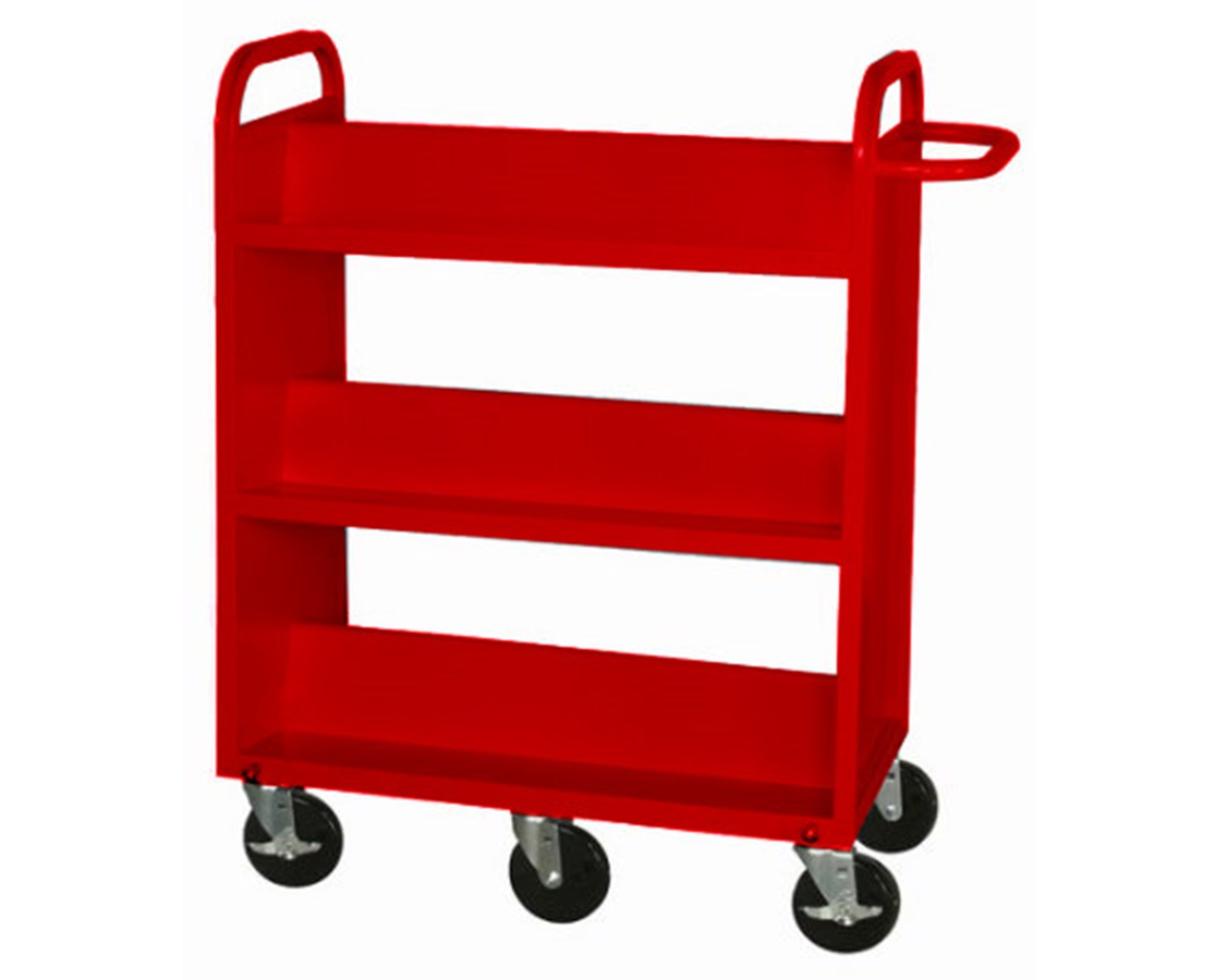 Sandusky Lee Heavy-Duty Book Truck with 3 Double Sided Sloped-Shelves SANSL6685-01-