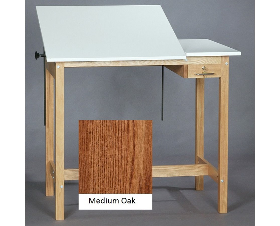 SMI Pacific Split Top Drawing Table Medium Oak M2436 30STA