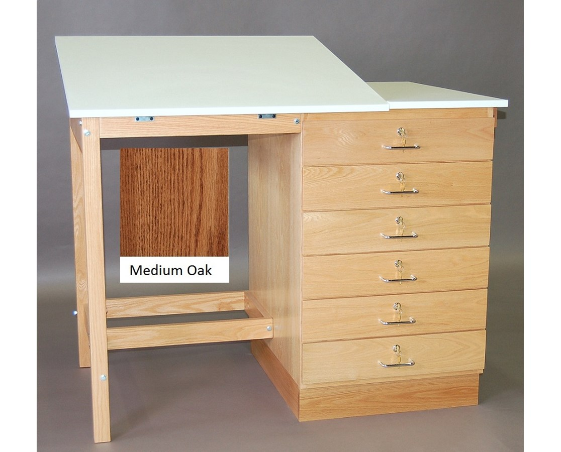 SMI Split Top 6 Drawer Drafting Table Medium Oak F4832 SST