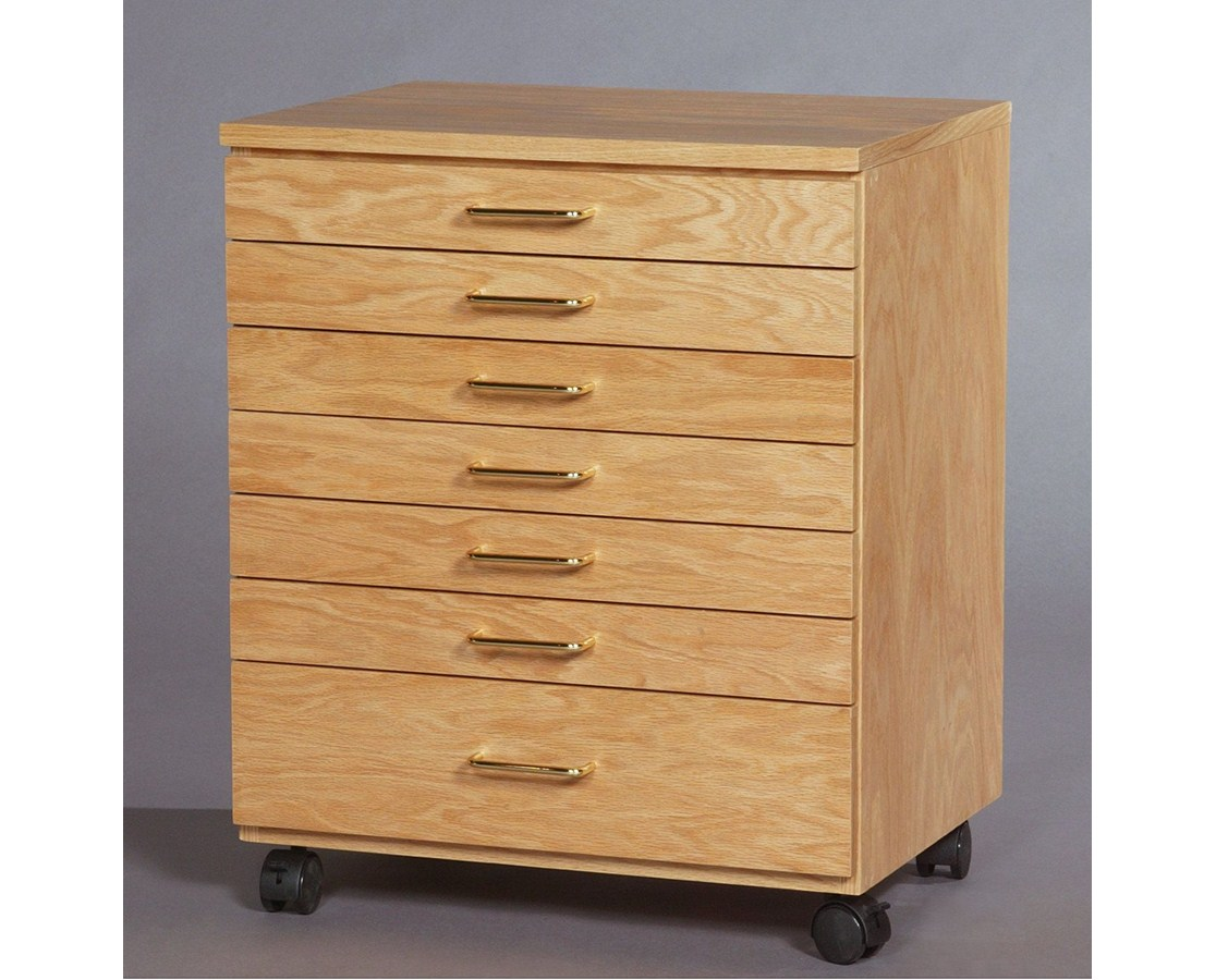 SMI 7 Drawer Oak Taboret Vanguard Style TB700