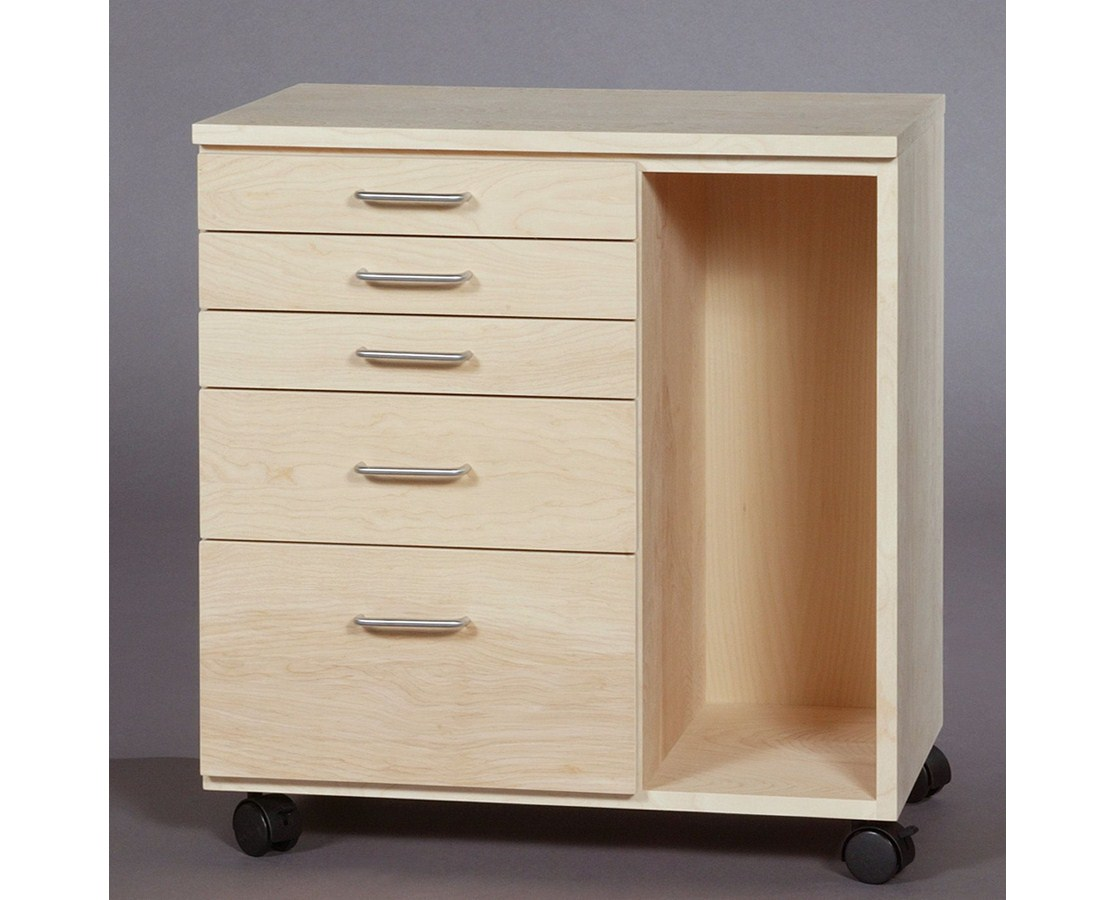 SMI 5 Drawer Birch Taboret Vanguard Style with Side Storage TB550B