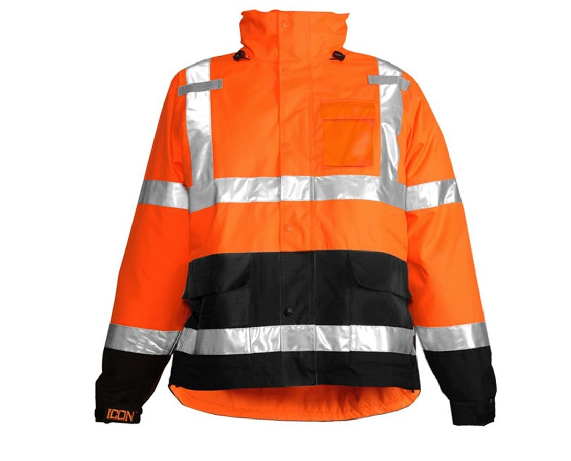 ANSI 107 Class 3 Fluorescent Orange-Red/Black Jacket TINJ24129