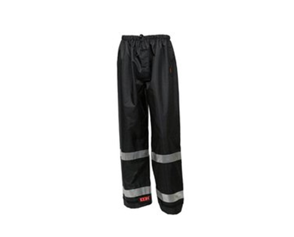 "Breathable Black Pants with 2"" Silver Reflective Tape TINP24123"