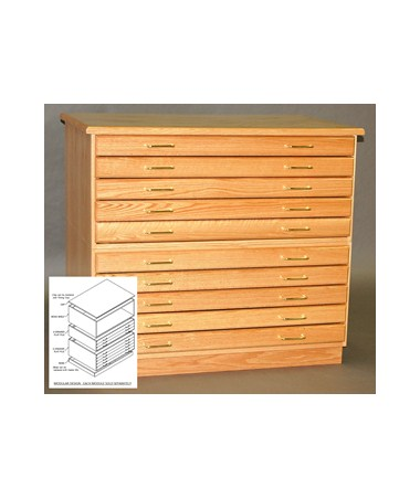 SMI 5 Drawer Oak Plan File for 30x42 Inch Sheets 30425D