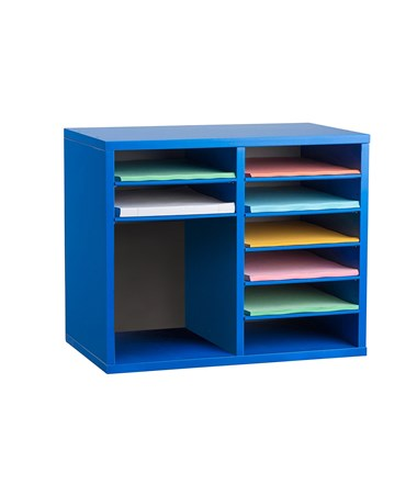 AdirOffice 9-Compartment Wooden Literature Organizer Blue