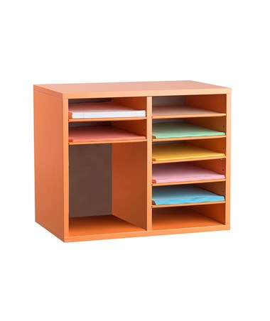 AdirOffice 9-Compartment Wooden Literature Organizer Orange