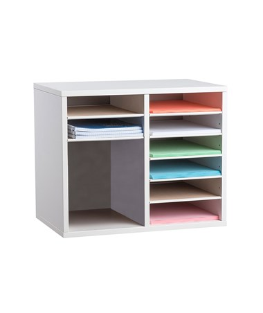 AdirOffice 9-Compartment Wooden Literature Organizer, White