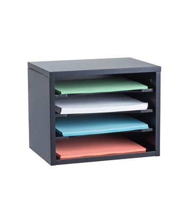 AdirOffice Stackable Desk Organizer with Curved Edge Removable Shelves ADI502-01-BLK-