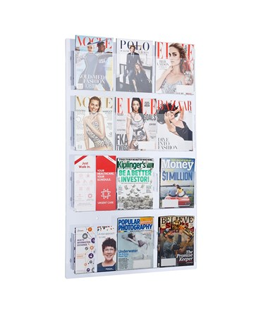 Adir Office Hanging Magazine Rack with Adjustable Pockets 29 x 48 inches, Clear ADI640-2948-CLR