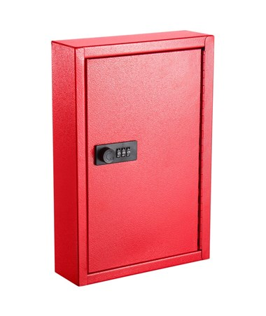 AdirOffice Key Cabinet with Combination Lock, 40 Hooks Red