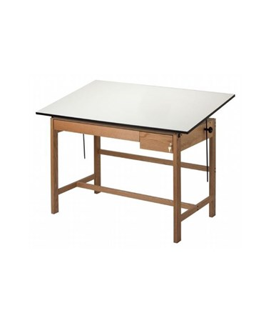 Alvin Titan II Solid Oak Drafting Table with 2 Drawers ALV-WLB60